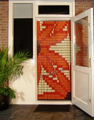 077 Liso vliegengordijn Oranje Bloemen, Vliegengordijn met motief,
