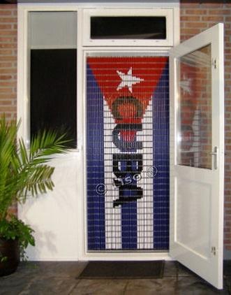 108 Liso vliegengordijn Cubaanse vlag, Vliegengordijn met motief,